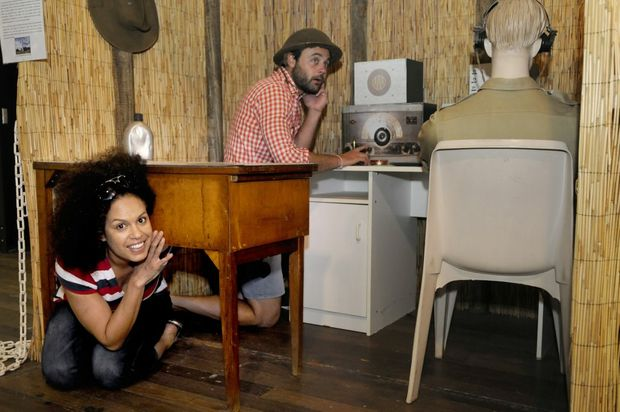 Christine Anu and Gyton Grantley immerse themselves in history at the Milne Bay Military Museum.