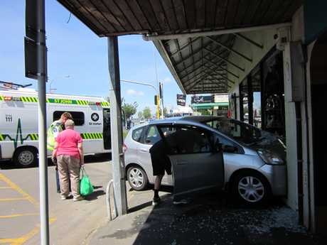 A car has driven into a shop on Katikati Main Road. 
