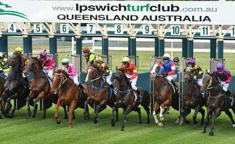EVEN START: Eventual winner Non Dimenticar (number six in pink and black checks) looks for the best run after the start of last Friday's River City Steel Fabrications Class 1 race over 2180m at Ipswich racetrack.