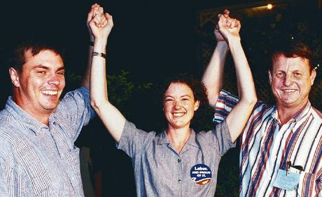 WINNER: Kirsten Livermore, Craig Brown and Robert Schwarten celebrate her 1998 election.