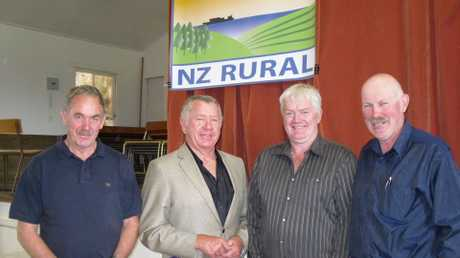 At the first public meeting for the NZ Rural Party - now renamed Focus New Zealand - are newly elected board members, from left, Joe Carr, Ross Meurant, Ken Rintoul and Lachlan McKenzie.
