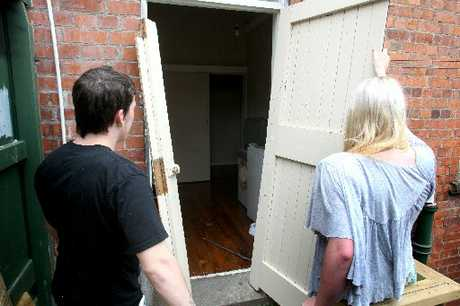 UNHINGED: The heavy door smashed by a group of teenagers early on Sunday. PHOTOS/BEVAN CONLEY