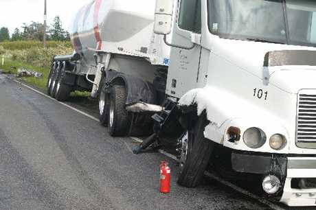 Yesterday's crash damaged a cement truck; its diesel tank can be seen far left.