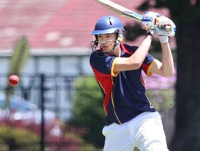 Rotorua Boys High School batsman Mikaere Watene attempts to smash the ball to the boundary during his team&#39;s win over Western Heights&#39; High School.