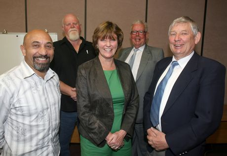 GRASS ROOTS: Carterton Mayor Ron Mark (left), Greater Wellington Regional councillor Gary McPhee, South Wairarapa Mayor Adrienne Staples, Wairarapa MP John Hayes and Masterton Mayor Garry Daniell agree a unitary authority is a realistic option for the region.