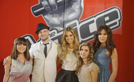 The Voice coach Delta Goodrem, centre, with her four finalists, from left, Danni Da Ros, Glenn Cunningham, Rachael Leahcar and Viktoria Bolonina. Supplied by Channel 9. Photo credit: Stuart Bryce.