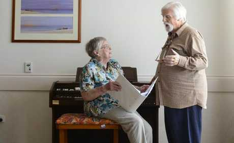 June Palmer and David Taylor, residents at Mareeba Nursing Home. June transcribed the music for David's original play, The Summer of 64. Photo: Adam Hourigan / The Daily Examiner