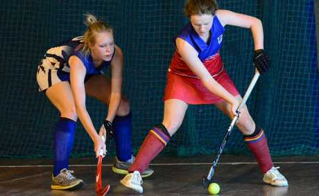 Kaitlin Rosolen, pictured playing for Maryborough Women at the indoor hockey state titles in Rockhampton this year, has won a travel funding grant.
