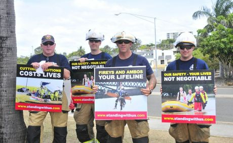 (L-R) Queensland Fire and Rescue Service Gladstone firefighters Harry Tattersall, Justin Corry, Mark Erridge and Josh Harrison at a past protest.