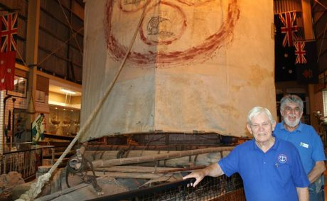 PRESERVE THE RAFT: Ballina Naval and Maritime Museum volunteers Robert Jones and John Colville with the Las Balsas raft on display in the museum. Photo Graham Broadhead / Ballina Shire Advocate