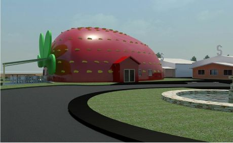 BERRY BIG: The planned strawberry building.