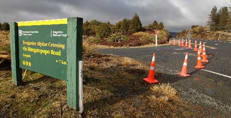 The road to the Tongariro Alpine Crossing is still shut today after the eruption of Mt Tongariro.
