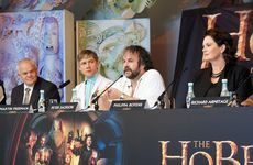 The Hobbit director Peter Jackson and star Martin Freeman at today's press conference in Wellington.
