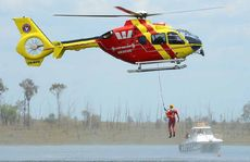 HANGING AROUND: The Swift Water Recue helicopter performing a demonstration rescue.