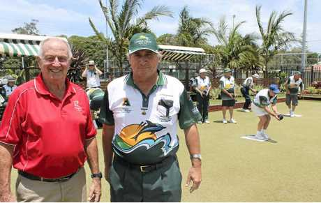 BACK ON THE GREEN: Chair of the Cherry Street Sports Club Dac Cameron with president of the Lennox Head Men's Bowling Club Col Skennar as Lennox games commence at the Ballina club this week.