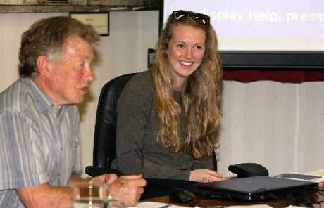ADVICE: Brittany Trilford, 17, addressing the Masterton District Council, next to Chris Peterson. PHOTO/LYNDA FERINGA