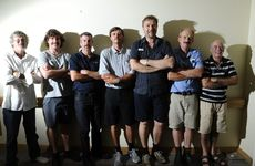 UnitingCare Caroona Yamba Hostel staff and volunteers with their upper-lip growth for Movember. From left: Wayne Franklin, Paul Johnson, Glen Robb, Shannon Simpkins, Paul Green, Greg Bowie and Tony Fant. Photo JoJo Newby / The Daily Examiner