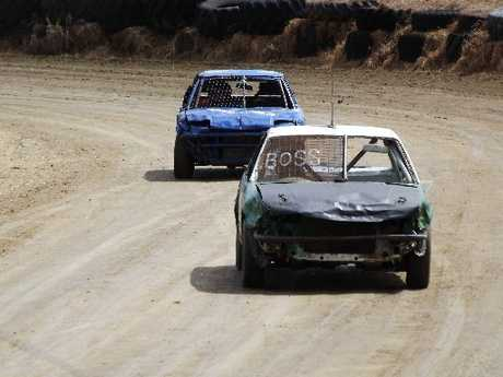 Aaran Johnson leads Chris White in the jalopies class during Dargaville Speedway&#39;s first day of racing for the season. Photo / Supplied