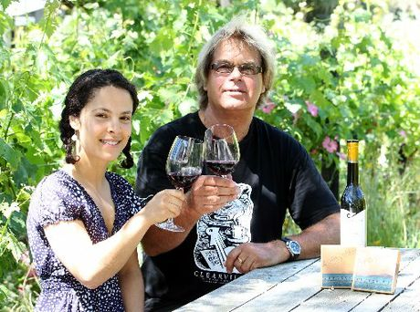 Chocolatier Anissa Talbi-Dobson and Clearview winemaker Tim Turvey sample the sweet reds which have been used to make sweet chocolates.