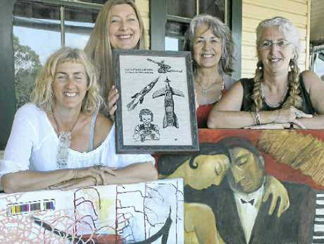 ARTY AMBITION: Showing off their artwork are Melinda Blair Paterson, Wendy Powitt and Jan Rae with Classic co-ordinator Tess Cullen (right).
