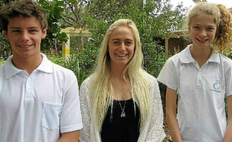 TOP ATHLETES: Byron Bay High School students (from left) Lorne Greenlaw, Kirsten Ogden and Marlie Campton.