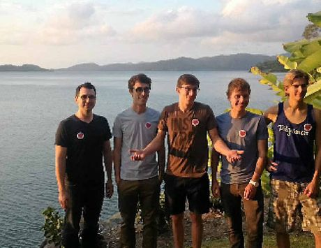 SNAP HAPPY: The original US 'Pilgramers', including US competition winner Chris Vallejos (far left) on Hamilton Island for the Ultimate Instameet. Mr Vallejos is pictured with John Carl (Pilgramer), Jody Johnston (host of Pilgramers video), Ryan Carl and Thomas Fisher.