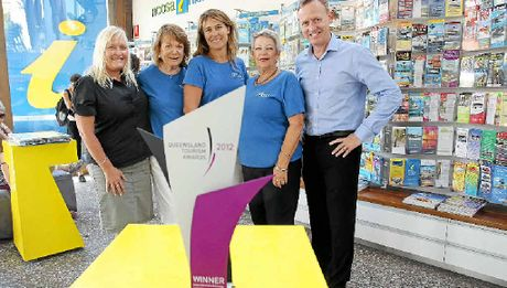 WINNERS: Industry liaison manager Juanita Bloomfield, volunteer Eve Ryan, centre manager Cathy Mitchell, volunteer Annie Gallen and general manager of Tourism Noosa, Damien Massingham celebrate The Noosa Information Centre's big win.