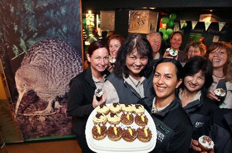 Kiwi Encounter staff celebrate TK the kiwi's 30th birthday with kiwi-themed cupcakes. Photo / Ben Fraser