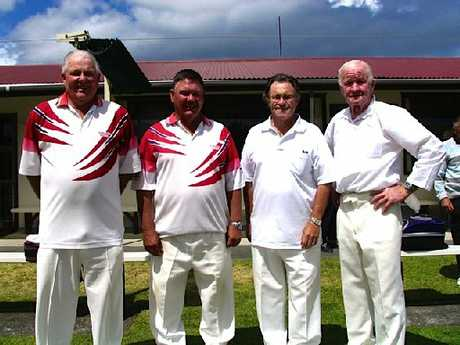 Bowls BOP 2012 Centre Men's Pairs finalists, left to right, John Bush, Kevin Maxfield (Tauranga South), Nigel Grondin, Jack Giddy (Composite). Photo / Supplied