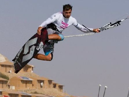 World-ranked kiteboarder Marc Jacobs shows his winning style in Morocco. Photo / Toby Bromwich