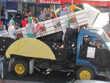 The Stratford Santa Parade. CMK were shooting for the moon with their glockenspiel themed rocket and they certainly got far - taking 2nd place in the competition. Photo / Supplied
