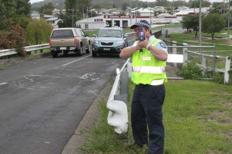 SLOW DOWN: Sergeant Dan O'Dea has said in the past the speed is a problem across such a narrow Carnarvon Bridge. Photo Ewan Leighton / Stanthorpe Border Post