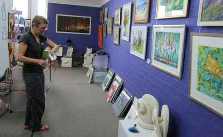 COMMUNITY ARTS ON GOONDOON: Shop coordinator Di Carey looks over the display in the retail gift shop. 