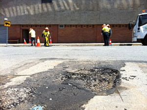 Burst water main in Ipswich CBD