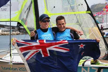 FULL SAIL: Blair Tuke (right), Kerikeri sailor, pictured with sailing partner Peter Burling, was crowned the Northland Sportsperson of the Year last night.