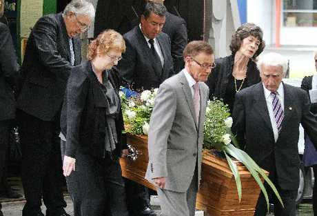 Mourners at Diana, Lady Isaac's funeral yesterday at St Michael and All Angels church.