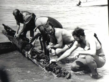 Some of the team members who discovered pieces of the shipwreck at Midge Bay in 1982. Photo / Supplied