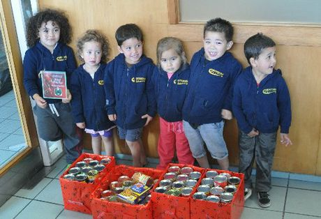 BOXED SET: Children from Rotokawa Kohanga Reo with their food gift to The Daily Post Christmas Appeal for the Salvation Army foodbank. From left: Ezra Hawkins, 4, Dyllan Winiata, 3, Eruera Newton, 3, Johanna Edmonds, 4, Manaaki Gage, 4, Heretaunga Mikaere, 3.