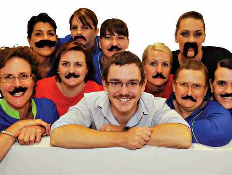 MOVEMBER MADNESS: Coral Coast Pharmacy staff get into Movember mode. Annabelle Hirst, Scott Williams, Selina Russell and Linda Davis (front). Teresa Alo, Donna Wall, Crisandra Cox, Tricia Cooney, Alicson Gahan and Jenny Francis (back).