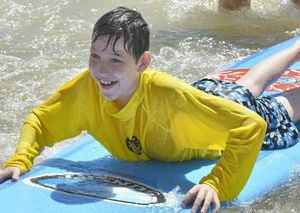 Callum Gilvarry, 11, had a great time at the surfing lessons.