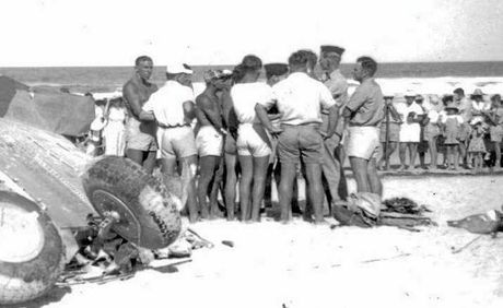 FATAL LANDING: The scene of a crash of an RAAF Wirraway plane on Maroochydore Beach on December 30, 1950. Three children died in the crash.