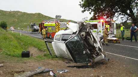 SERIOUS SMASH: Three men remained in critical condition last night and a fourth was stable in hospital after their car hit a culvert north of Wairoa yesterday morning.PHOTO/SUPPLIED
