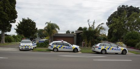 Police at a Levers Rd house. Matua School was briefly locked down while police searched for someone.