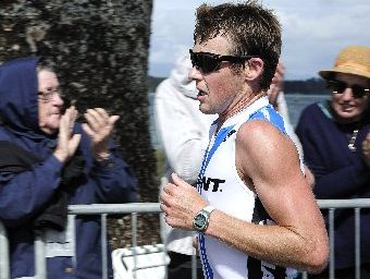 Graham O'Grady wins the 2012 Craigs Investment Partners Tinman Triathlon held at Pilot Bay yesterday.