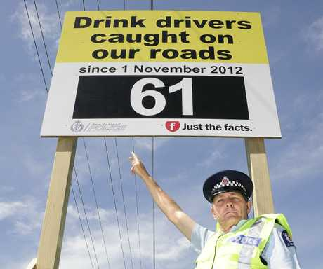 Western Bay of Plenty road policing manager Senior Sergeant Ian Campion is hoping the signs will discourage people from driving drunk this summer.