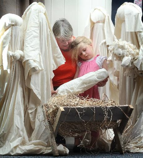 Rotorua's Heather Horton and her granddaughter, Charlotte Coleman, 4, made a new baby Jesus to replace the one that was taken from the nativity at Rotorua Hospital last year.