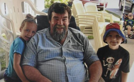 Kingsthorpe man Leo Ryan spends time with his grandchildren Lekaysha Woodbridge (left) and Van Ryan. Mr Ryan was killed when the truck he was driving rolled on the Warrego Hwy.