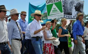 Protestors take a stand against the expansion of the Acland coal mine.