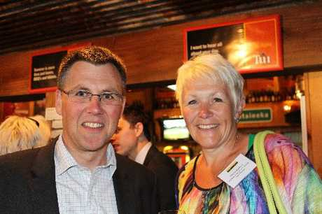 COLLABORATION: Manawatu Chamber of Commerce chairman Andrew McLean and Wairarapa Chamber of Commerce co-chairwoman Wendy Morrison at the event. PHOTO/SUPPLIED
