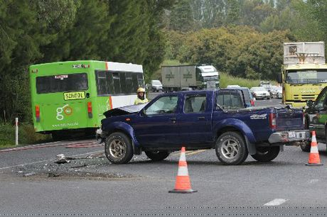 A school bus and a ute have collided at the intersection of SH2 and Barretts Rd, Whakamarama.